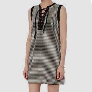 NSF black and white striped tank dress small